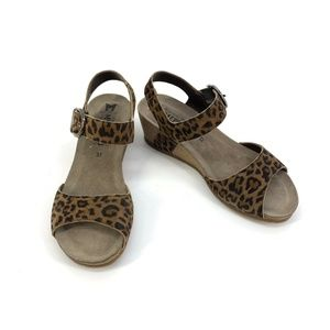 Mephisto Leopard Animal Print Cork Wedge Sandals